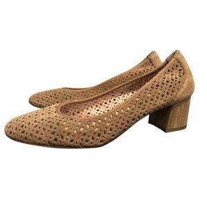 Hispanitas Stretchy Suede Wood Block Heels